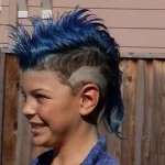 boy with blue mohawk