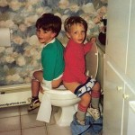 Boys being potty trained on toilet LOL