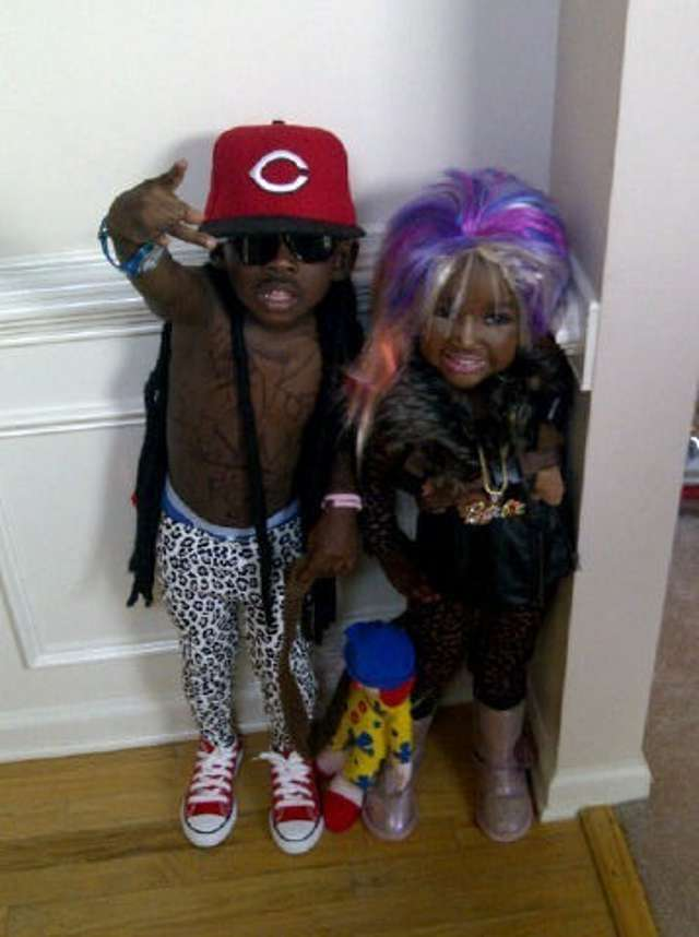 Funny Halloween - boy in tights mini thug gangsta