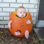 boy in pumpkin
