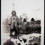Boy In Halloween Costume with Cat - Vintage Photo