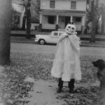 Boy In Halloween Costume with Dog - Vintage Photo