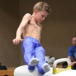 shirtless kid on pommel horse