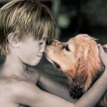 Shirtless Boy With His Dog