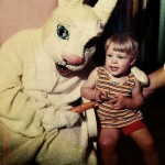 Easter Bunny with carrot and boy