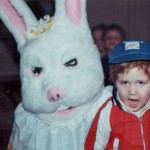 This boy seems a bit leery of the Easter Bunny