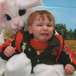 Boy scared of Easter Bunny