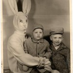 Creepy Easter Bunny With Boys - Vintage Photo