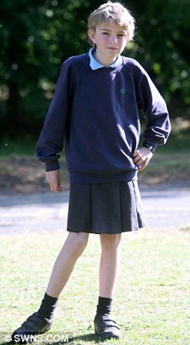 Boy In Skirt Protest