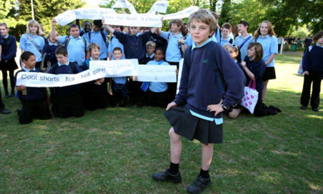 Boy Protest School Rule By Wearing Skirt
