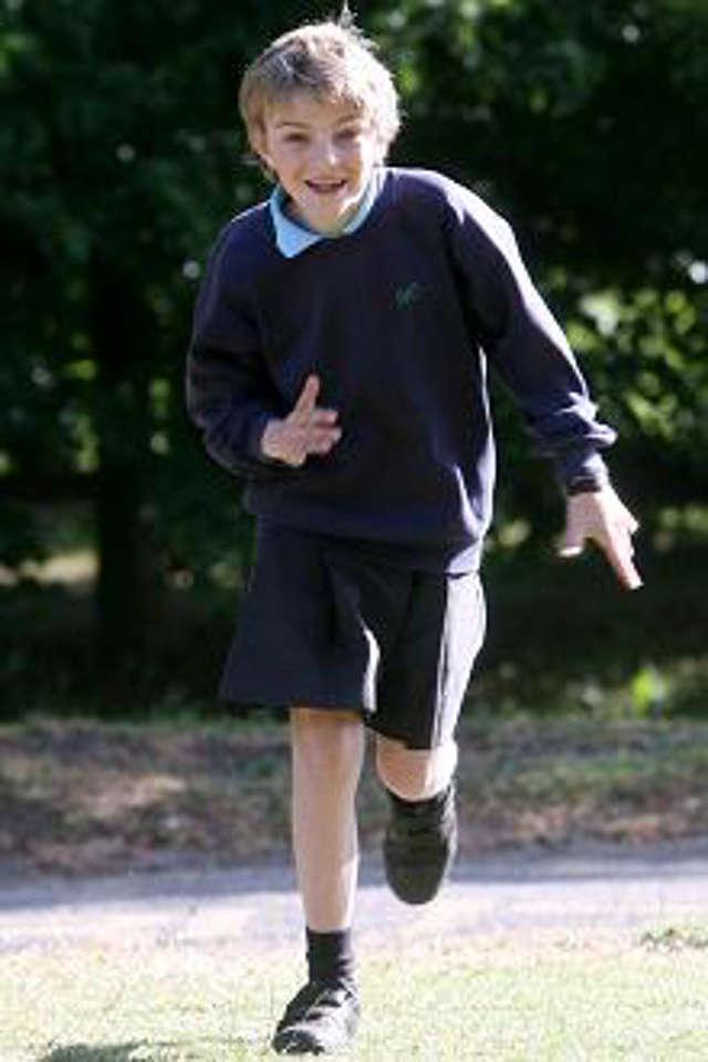 Boy Running In Skirt Protest