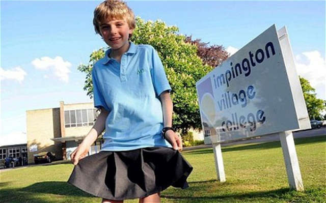 Boy Wearing Skirt To School