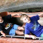 Boys on log flume
