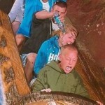 Boy scared on log flume