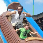 Scared Boy On Log Flume