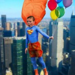 Superboy Flying With Balloons
