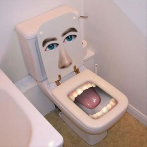 toilet with face and teeth