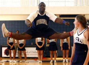 335 pound cheerleader nose tackle Armand Fernandez-Pierre