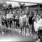 Boys In Shower Vintage Photo