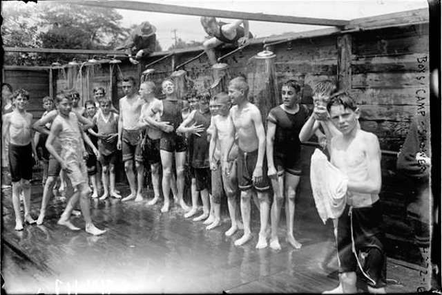 Boys In Shower Vintage Photo