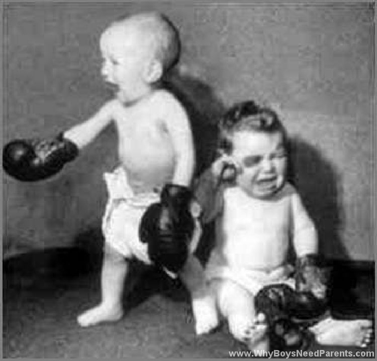 Boys Wearing Boxing Gloves