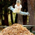 Boys Dives Into Leaf Pile