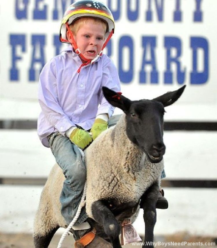 Boy Riding Lamb