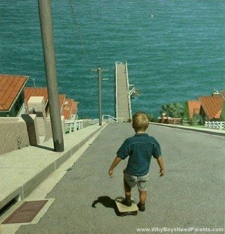 Boy About Ride Skateboard Down Giant Hill