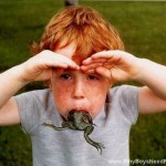 Red Head Boy Frog In Mouth