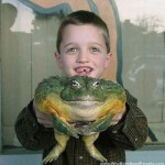 Boy Holding Giant Frog
