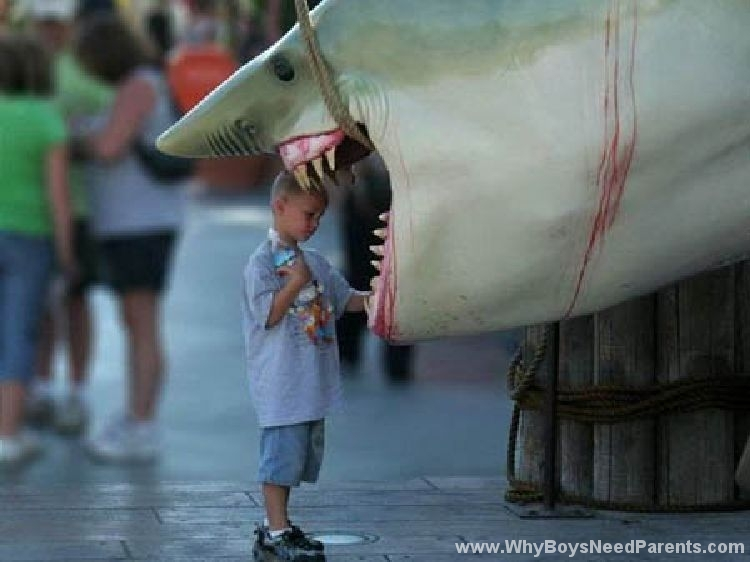 Boy With Head In Shark's Mouth