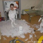 Boys Paint Carpet And TV