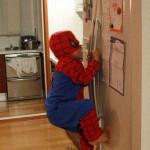 Spider Boy Climbs Refrigerator